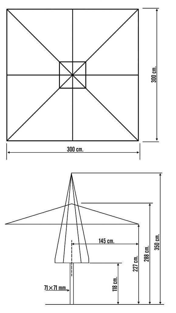 Medidas parasol profesional de 3 metros telescópico para cortinas y estufas