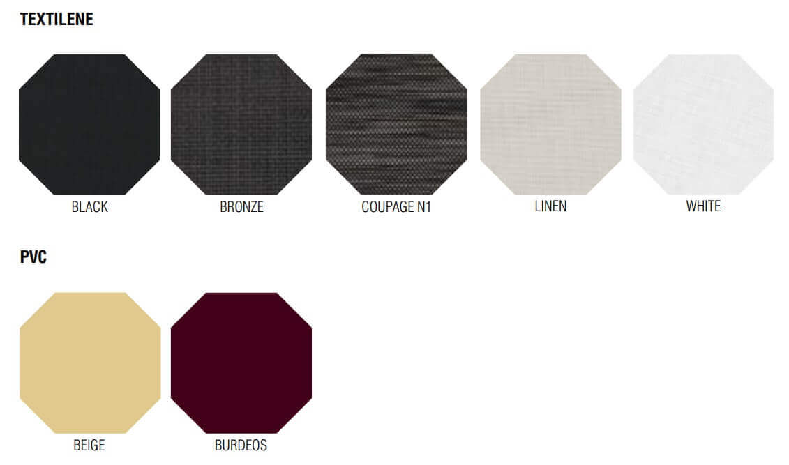Windscreen colors for bar terrace in Textilene and PVC