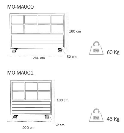 Medidas separador para terraza en madera modelo MAUI de EZPELETA