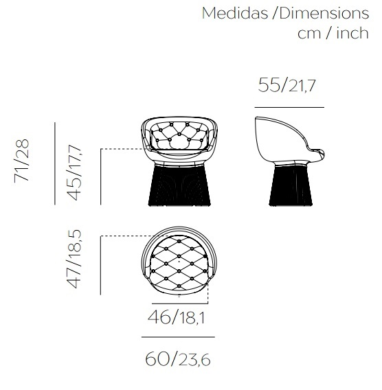Medidas butaca o sillón de exterior con luz opcional