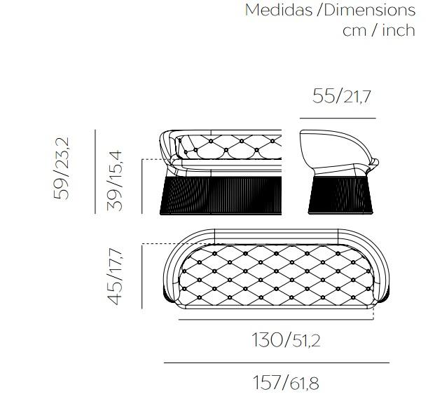 Medidas sofa bench con luz opcional para interior y exterior
