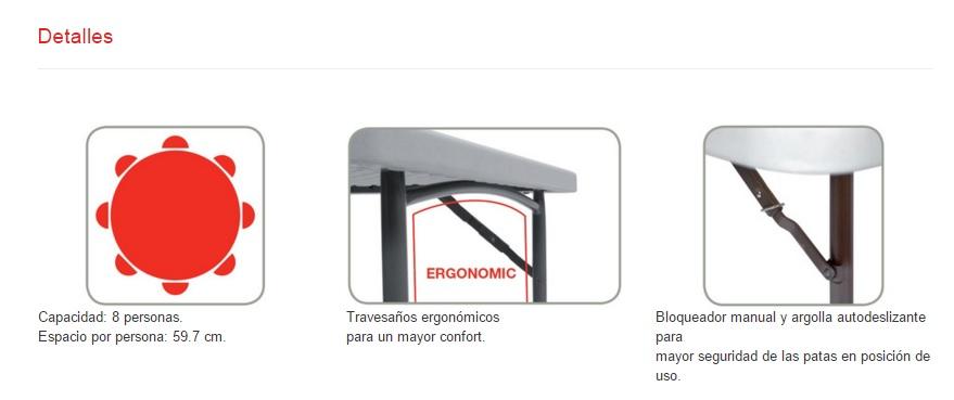 ficha tecnica mesa plegable de 150cm de diametro