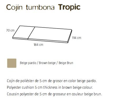Detalle cojín tumbona tropic - Medidas
