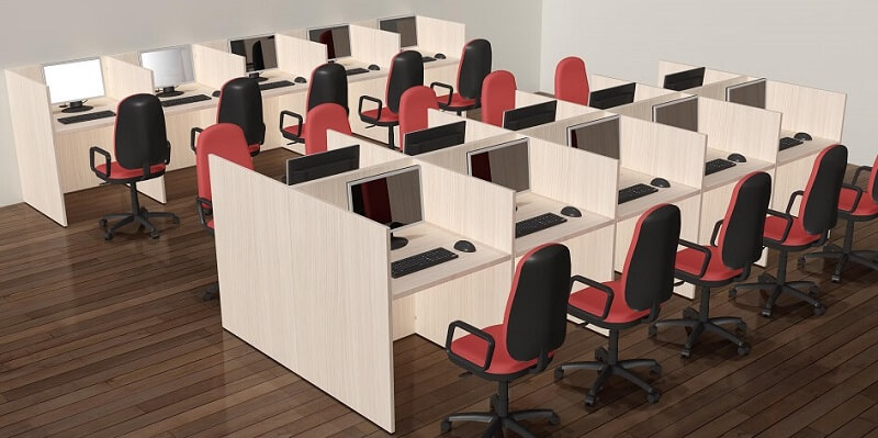 Composicion doble de muebles call center