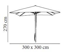 Medidas parasol de aluminio A1 de Resol de 3x3m