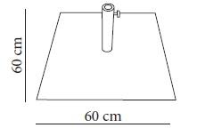 Medidas pie metálico flexo para parasol. Peso 35Kg
