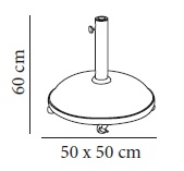 Dimensions of the parasol foot with 35kg wheels SIRO RESOL