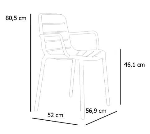 Medidas silla GINA con brazos de RESOL