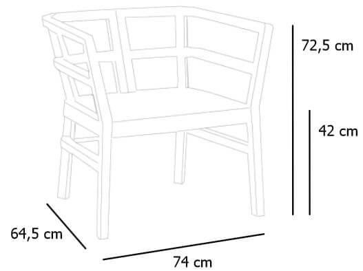Detalle medidas sillón Click Clack de RESOL para terraza