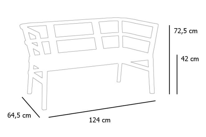 Detalle medidas sofá Click Clack de RESOL para terraza