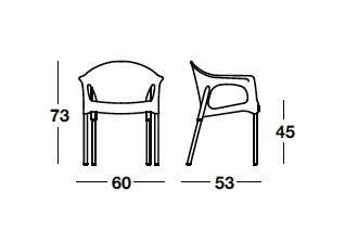 Detalles medidas sillón apilable Pia