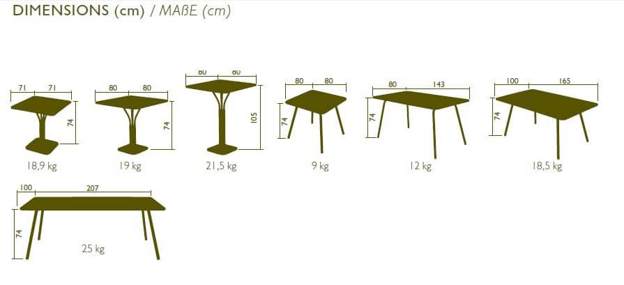 COLECCION LUXEMBOURG FERMOB dimensiones de las mesas