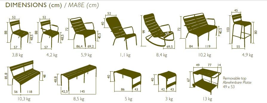 COLECCION LUXEMBOURG FERMOB dimensiones de las sillas