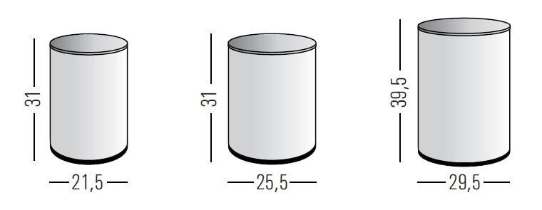 Medidas papelera de oficina de 15, 20 y 34 litros
