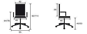 Detalles medidas silla de oficina Adapta