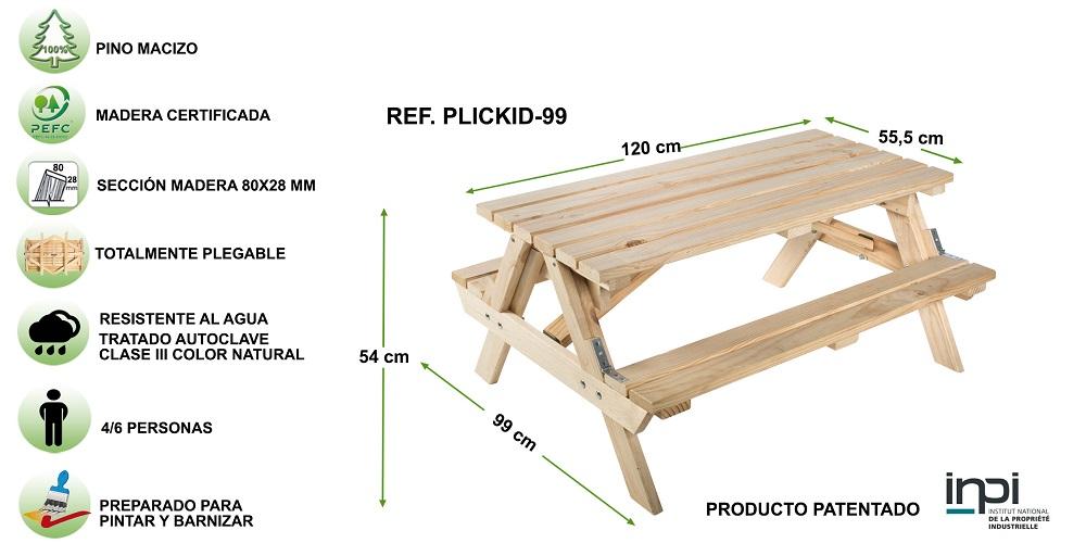 Ficha técnica mesa de picnic plegable infantil para uso exterior
