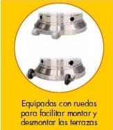 Calefactor corona, detalle ruedas