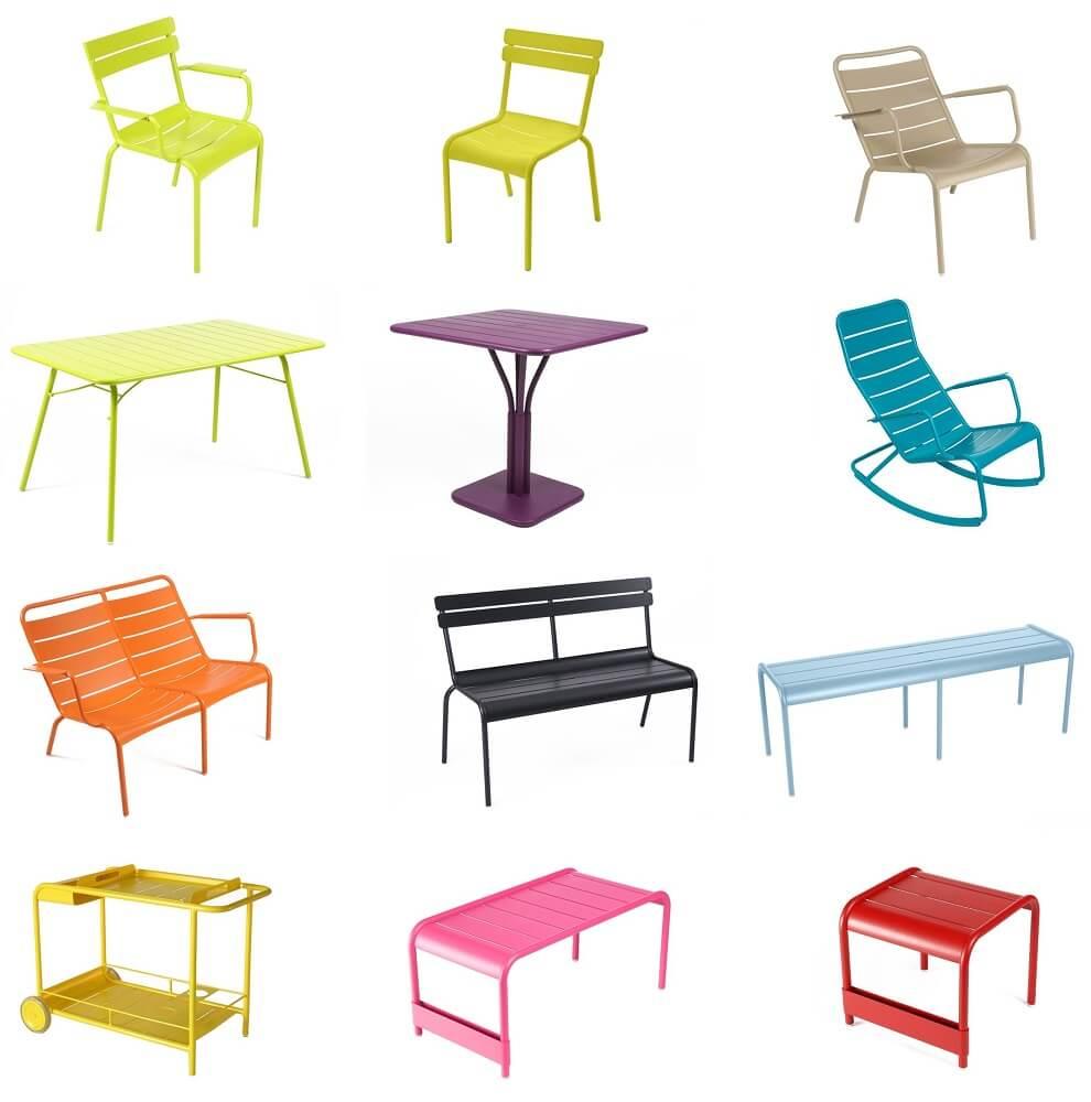COLECCION LUXEMBOURG FERMOB silla,banco, taburete,mesa,tumbona,trolley,etc