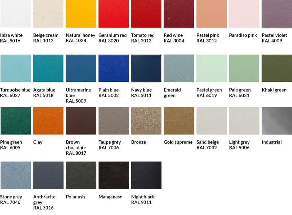 Colores disponibles silla aluminio exterior terraza