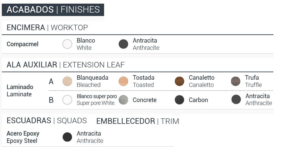 Ficha de acabdos de mesa barra abatible para cocina de diseño
