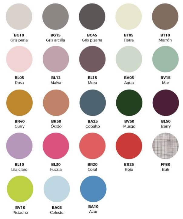 Carta de colores completa para escritorios y mesas juveniles