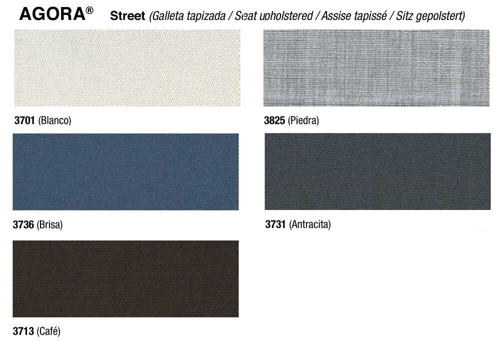 ENEA STREET chair and stool upholstery colors