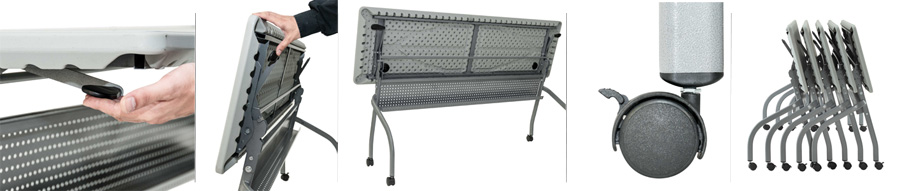 Detalles mesa abatible de confencias de 180x50cm en DESKandSIT online