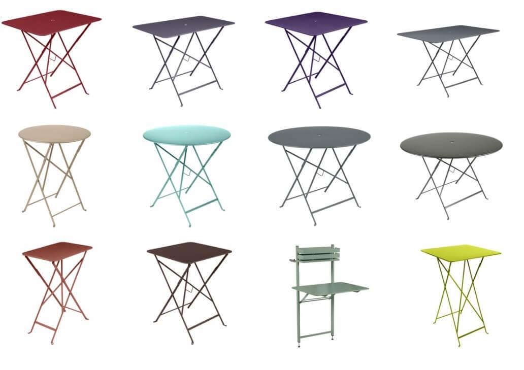 Colección de mesas plegables BISTRO de FERMOB para exterior