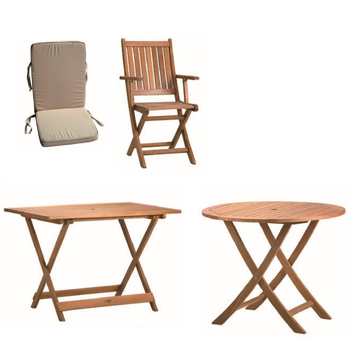 Coleccion de madera tropical de mesas y sillones para terraza y jardín