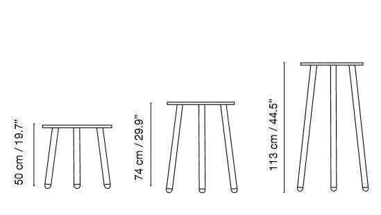 colección CORSICA de ISIMAR: mesa baja auxiliar, mesa de bar y mesa alta para taburete