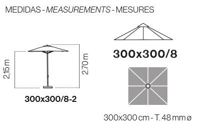 Medidas parasol aluminio cuadrado de 3x3 metros de Ezpeleta