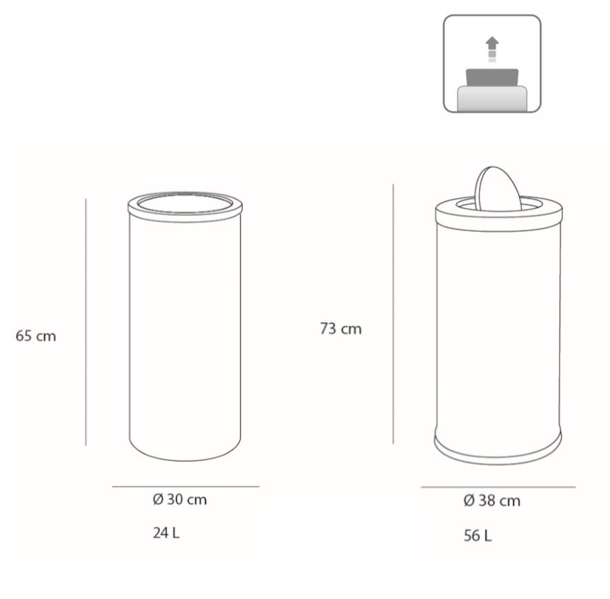 Medidas papelera contenedor de gran capacidad 24 y 56 litros