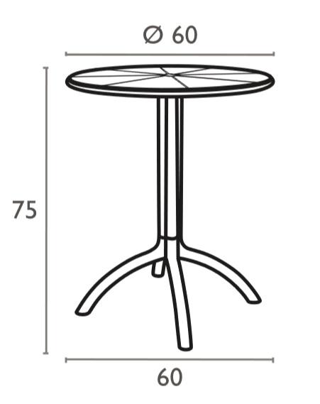 Medidas mesa de bar y terraza de 60cm modelo Octopus Siesta resol