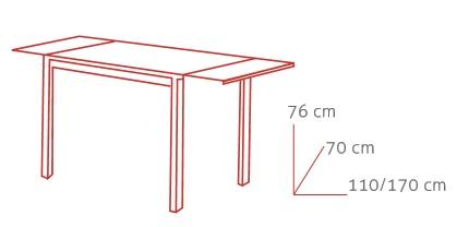 Medidas mesa de cocina extensible