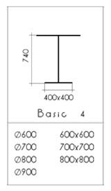 Medidas estructura pie mesa pino vintage basic cuadrada