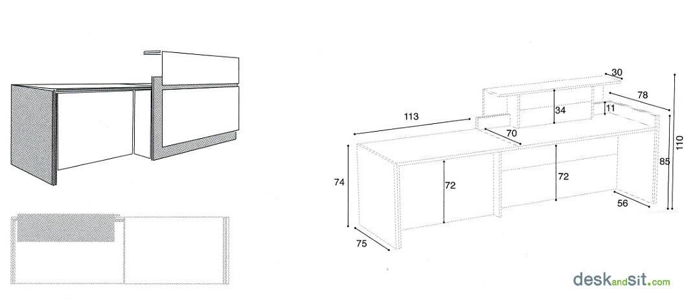Taulell mostrador o taula de recepció per a oficina. Detall de les mesures
