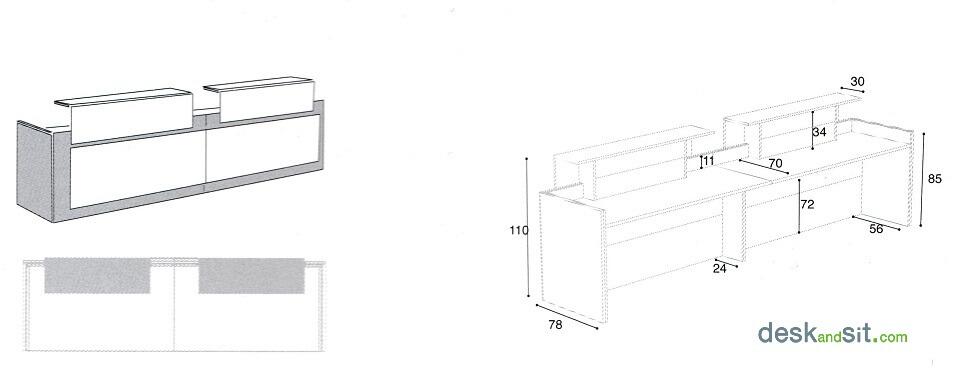 M;ides del taulell mostrador d'oficina doble (taula d'oficina per a 2 persones). Detall de les mesures.