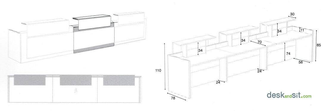 Mesures taulell mostrador d'oficina central triple (taula d'oficina per a 3 persones). Detall de les mesures.