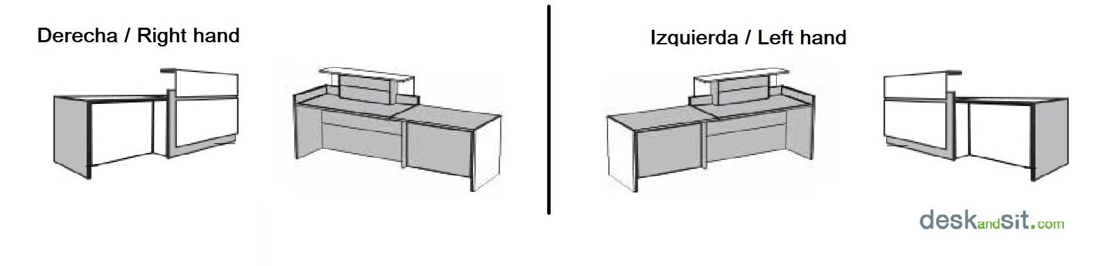 Mesa mostrador de recepción con area de atencion personalizada y leds a derecha o izquierda