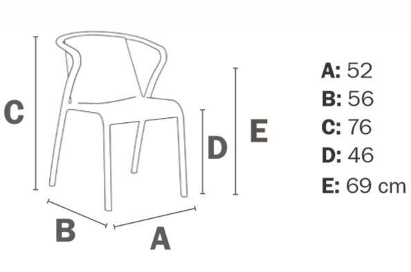 Medidas silla de terraza FADO de EZPELETA para bares y restaurantes