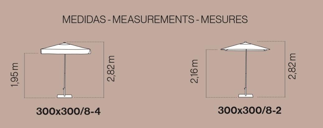 medidas y detalle técnico parasol formentera de 3 metros