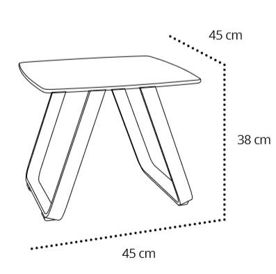 Medidas mesa auxiliar para terraza en aluminio y tablero fenólico