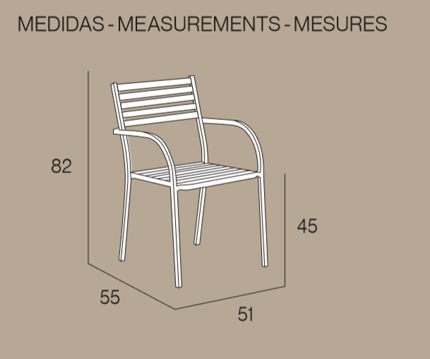 Medidas sillón Sicilia de Ezpeleta apilable para hostelería