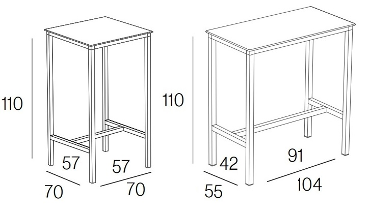 measurements of the high bar type bar table