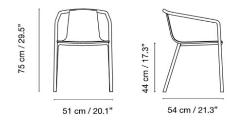 Medidas silla de aluminio CADIZ de ISIMAR