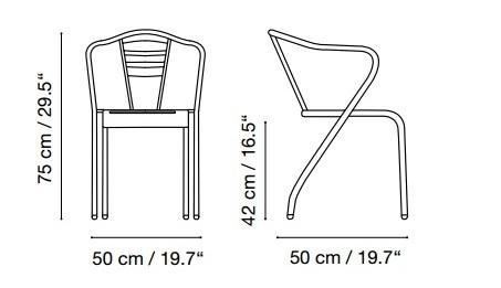 Medidas silla retro elba en acero para exterior