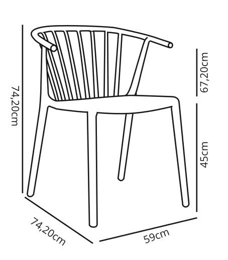 Medidas silla retro woody de resol para terraza y contract