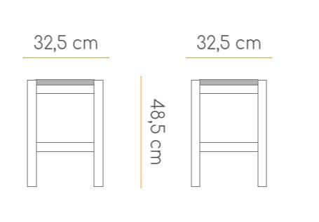 medidas de taburete banqueta con asiento de enea