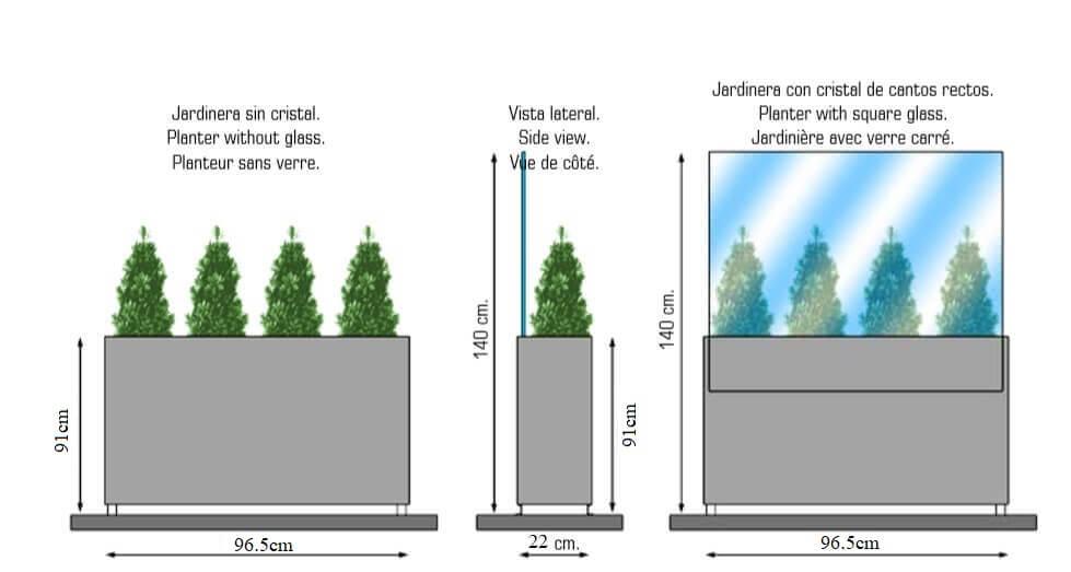 medidas de jardinera separador paravientos para terrazas con o sin cristal
