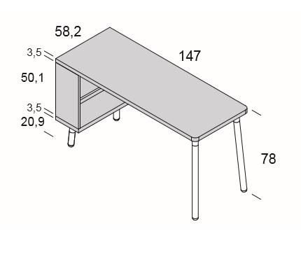 medidas mesa escritorio con estantería reversible para habitación juvenil